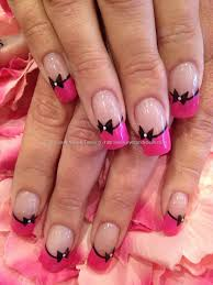 eye candy nails u0026 training pink and black nail art on acrylic