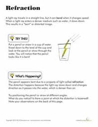 direction of light worksheets articles and lights