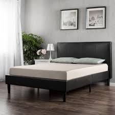 zinus deluxe upholstered faux leather espresso twin platform bed