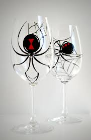 black widow spider wine glasses set of 2 hand painted