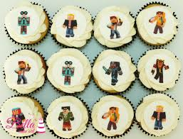 minecraft cupcakes edible image toppers on a fondant disc standard 12