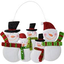 16 metal glittered snowman family hanging decoration 81692rgw