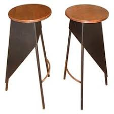 Wood And Metal Bar Stool Rustic Bar Stool Backless Kitchen Wood And Metal Bar Stool At 1stdibs