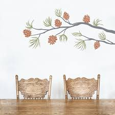 Nursery Tree Wall Decal by Pine Cone Branch Wall Decal