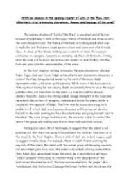 lord of the flies themes and messages write an analysis of the opening chapter of lord of the flies how