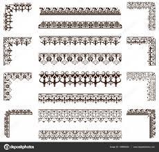 art deco design elements of vintage ornaments and borders corners