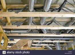 interior new uk energy efficiency passive house building shows interior of new uk energy efficient passive house showing building materials ventilation trunking installed within