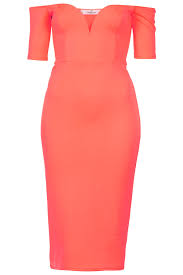 topshop off the shoulder neon bodycon dress by oh my love latest