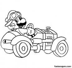 printable cartoon super mario super car coloring