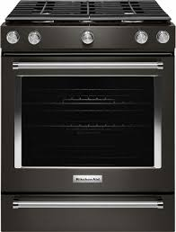 Slide In Cooktop Kitchenaid 5 8 Cu Ft Slide In Gas Convection Range Black