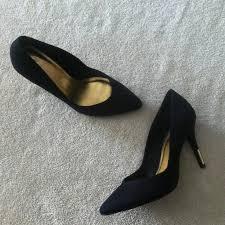 h u0026m h u0026m suede pumps with golden heel from raquel u0027s closet on