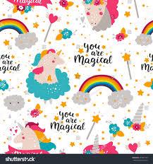 Design Patterns For Cards Background Baby Unicorn Kids Pattern Design Stock Illustration