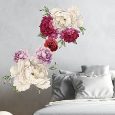 Flower Wall Decor Peony Flowers Vintage Bouquet Wall Decal Sticker Peel And Stick