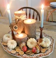 mini cute candle with decorative pumpkins set for dining table