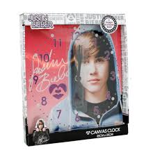 Clock Designs by Justin Bieber Canvas Wall Clock Kids Childrens Bedroom Purple Pink