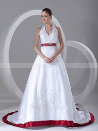 two color wedding dress halter two tone embroidered satin wedding dress with chapel