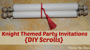 diy scroll invitations savor the days themed party invitations