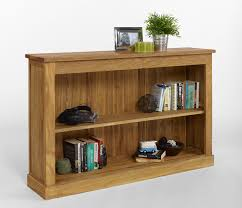 low wide floor bookcase with two tier open shelves made of wooden