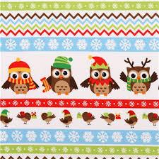 christmas owl stripe flannel fabric holiday hoot christmas