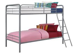 Amazoncom DHP Twin Over Twin Metal Bunk Bed Silver Kitchen - Metal bunk bed ladder