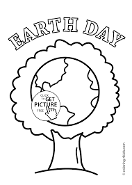 earth day tree coloring pages for kids printable free coloing