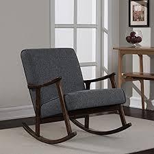 Glider Chair Granite Grey Fabric Retro Wooden Rocker Glider Chair