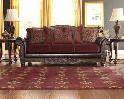 Leather And Tapestry Sofa Lush World Burgundy Living Room Fabric Raul Sofa Traditional