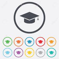 graduation cap frame graduation cap sign icon higher education symbol circle
