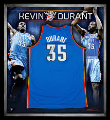 basketball nba kevin durant signed and framed okc thunder jersey
