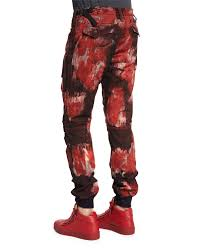 prps bleach out paint brushed denim jeans in red for men lyst