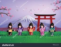 illustration nature spring season japanese girls stock vector