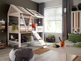 extra room in house ideas grey curtain and unique house shaped loft children bed for funky