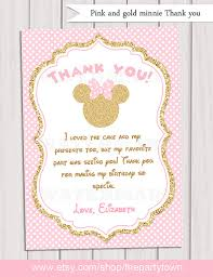 minnie mouse thank you cards pink and gold minnie mouse birthday party thank you card