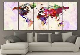 Canvas Map Of The World by Amazon Com World Map Canvas Print Contemporary 5 Panel Colorful