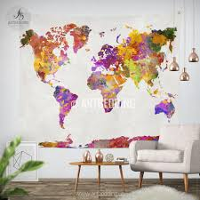 Watercolor Wallpaper For Walls by World Map Watercolor Wall Tapestry Grunge World Map Wall Tapestry