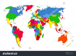 The World Political Map by Political Map World Colorful World Mapcountries Stock Vector