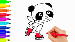 how to draw animals panda skating coloring pages for kids