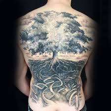 dna helix strand tree of back tattoos