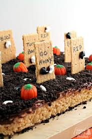 frugal foodie mama haunted graveyard rice krispies treats