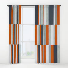 Blue And Orange Curtains Orange Navy Blue Gray Grey Stripes Abstract Nautical Maritime