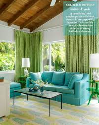Green And Beige Curtains Inspiration Home Tour Beth Arrowood U0027s Miami Brights Turquoise Living Rooms