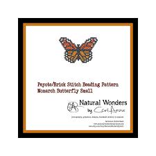 monarch butterfly small brick peyote stitch beading pattern