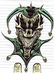 colorful wicked jester tattoo design by darklover666