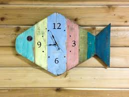 theme wall kitchen clocks painted fish design wooden