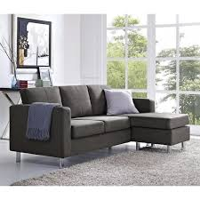 Small Sectional Sofas by Dorel Living Small Spaces Grey Microfiber Configurable Sectional