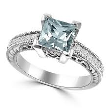 about diamond rings images Princess cut aquamarine diamond engagement ring vintage jpg