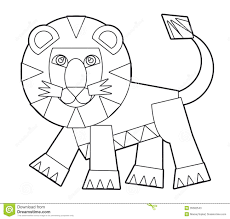 cartoon wild animal coloring page for the children stock photos