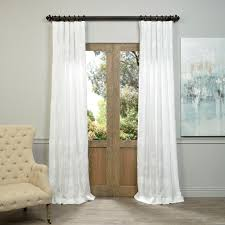 Halfpriced Drapes Half Price Drapes Ginko White Embroidered Crewel Faux Linen