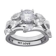 wedding ring set for 4 57ctw cz willow engraved 2 wedding ring set 8068842 hsn