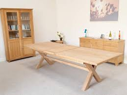 6 seater oak dining table provence 2 4m 2 9m 3 4m double extending x leg table with oval